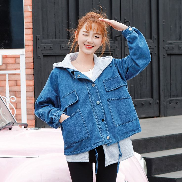 2017 New Spring  College Wind Denim Jacket Two Piece Set Loose Hooded  Ladies Denim Jackets Long Sleeve Female Coats #Affiliate