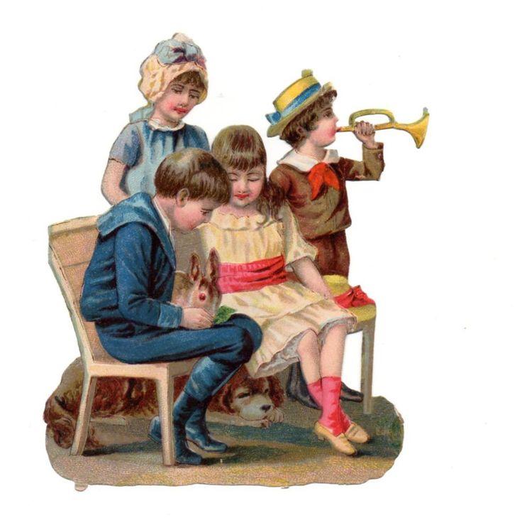 Alte Oblate Glanzbilder Scraps Kinder mit Hase Hund 12,5cm ...