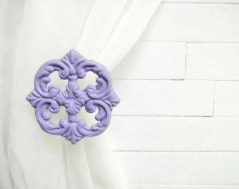Two Metal Curtain Tie Backs / Curtain Tiebacks / Curtain Holdback / Drapery Tie Back / Shabby Chic Window / Purple Home Decor / Curtain Hoo