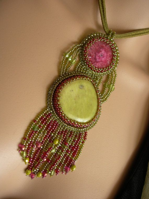 Beaded pendant with solar quartz and chrysoprase. by Annavilma