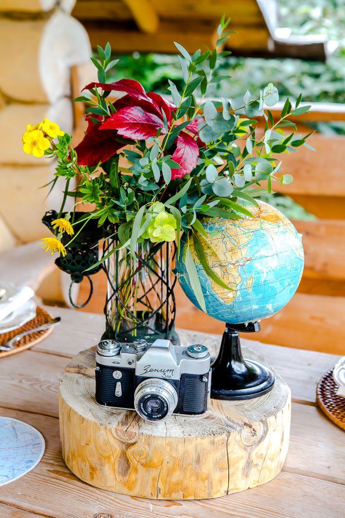 #атласмира  Наверное, у многих на полках найдутся глобусы, школьные атласы и винтажные фотоаппараты. Достаньте атрибуты настоящего путешественника и используйте их в сервировке.Небольшие детали создадут нужную атмосферу и удивят ваших гостей.