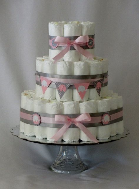 Baby Girl Diaper Cake Pink And Grey Elephant Shower