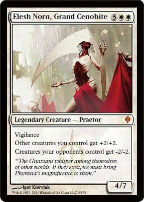 Magic: the Gathering - Elesh Norn, Grand Cenobite - New Phyrexia by Wizards of the Coast. $11.32. A single individual card from the Magic: the Gathering (MTG) trading and collectible card game (TCG/CCG).. From the New Phyrexia set.. This is of Mythic Rare rarity.. Magic: the Gathering is a collectible card game created by Richard Garfield. In Magic, you play the role of a planeswalker who fights other planeswalkers for glory, knowledge, and conquest. Your deck of cards rep...