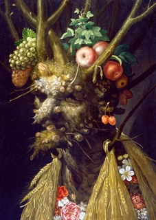 Giuseppe Arcimboldo  Four Seasons in One Head, c. 1589-1591  oil on panel  60.4 x 44.7 cm (23 3/4 x 17 5/8 in.) Framed: 94 x 75 cm  National Gallery of Art, Washington, Paul Mellon Fund