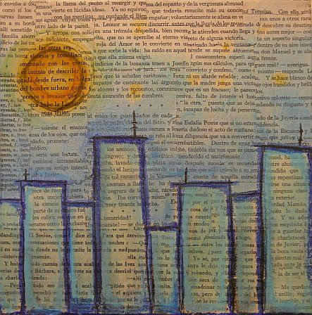 cityscapes with newsprint/book pages
