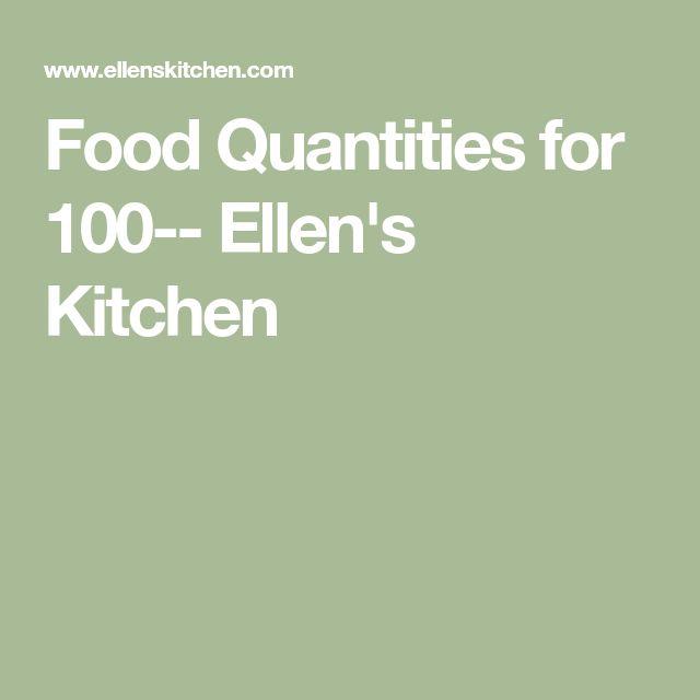Ellens Kitchen: Food Quantities For 100-- Ellen's Kitchen