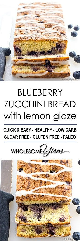 Blueberry Zucchini Bread Recipe with Lemon Glaze (Low Carb, Gluten-free) - This healthy lemon blueberry zucchini bread recipe is quick & easy to make with just 15 minutes prep. Low carb, gluten-free, sugar-free, and paleo.