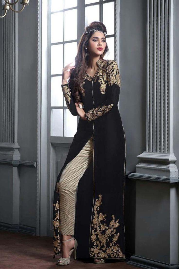 Black Georgette Latest Designer Salwar Kameez with Dupatta