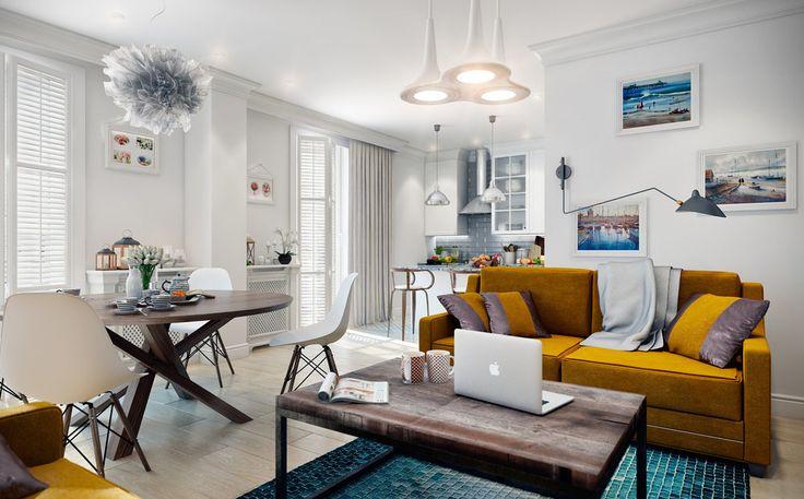 На 96 квадратах дизайнеры создали функциональный интерьер в классическом скандинавском стиле, увеличили пространство кухни и сделали нишу для шкафа в прихожей