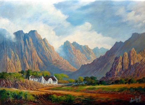 Montagu, Don Bell artist, western cape, south africa, mountains, cape dutch, colourful, contemporary art,
