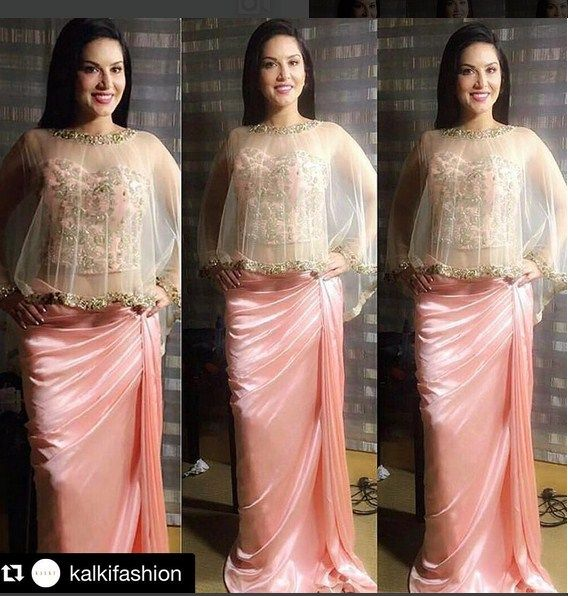 Sunny Leone In A Pink Embroidered Outfit .For This Dress Mail Us contact@ladyselection.com