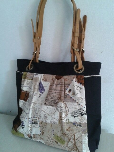 Linen and canvas tote bag