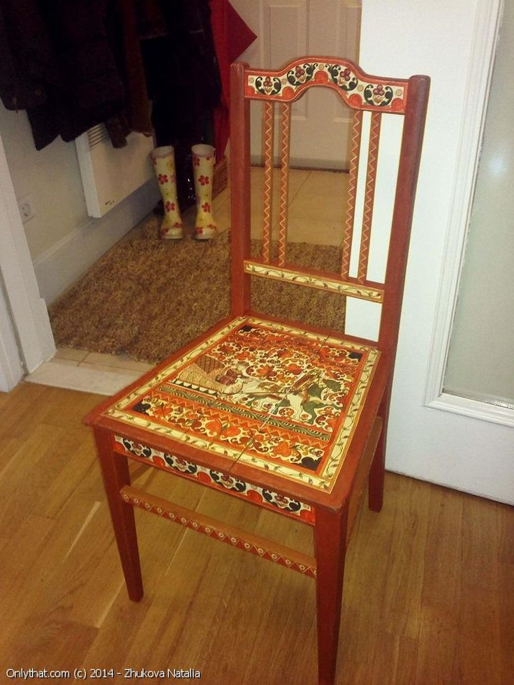 Chair With Traditional Russian Painting