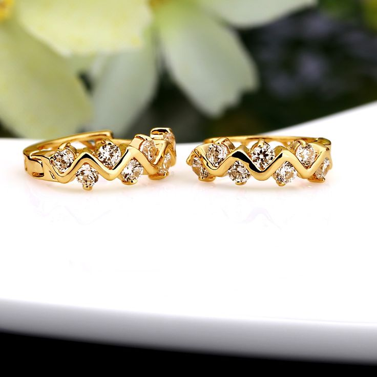 Cheap 1Pair Clear Crystal Zircon 18K Gold Plated Wave Hollow Hoop Online 18k gold plated white | Tomtop
