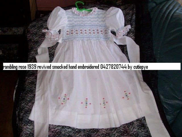 smocked flower girl gown with french lace rambling rose is unique 1939 pattern created by cutiepye 0427820744