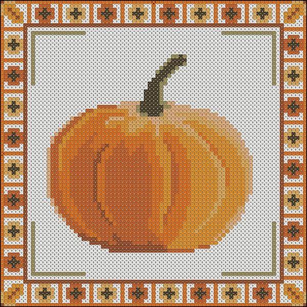 Pumpkin Pillow Free cross stitch pattern