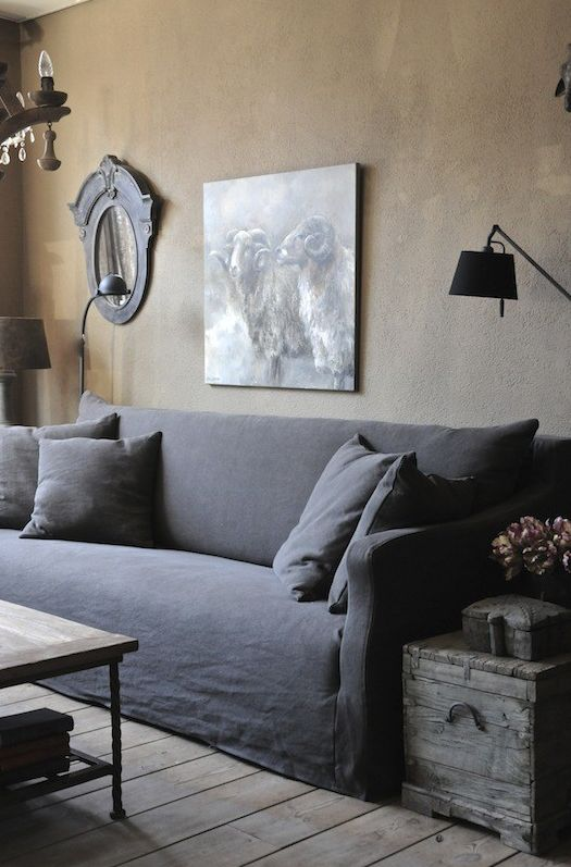 living room in dark neutrals