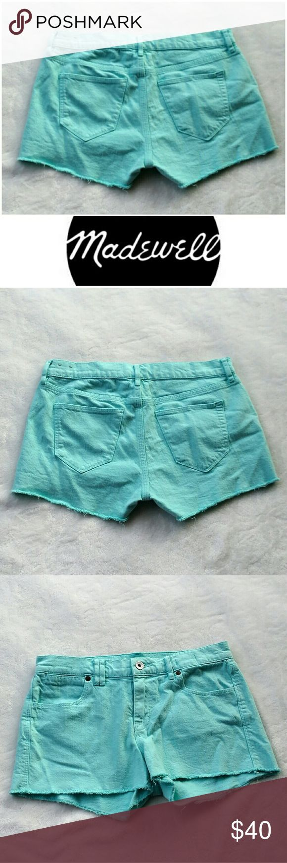 """Madewell turquoise teal shorts Adorable, bright and fun shorts from Madewell.   Like new!   2"""" inseam. Size 26.  Let me know if you have any questions! Open to offers and bundle discount available. Madewell Shorts"""