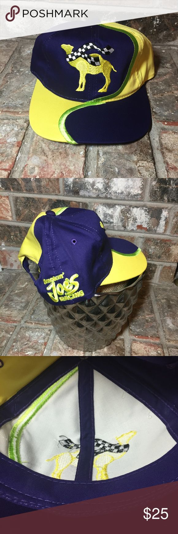 Joe camel racing baseball SnapBack hat vintage New, old stock, probably early 1990's era , unworn. New Without Tags! Best for adult MEDIUM , may fit normal adult large , but hat is Not Oversized , best for adult Medium or Med/lg. Super crisp & bright colors! Yellow, Green & Purple. Embroidered Joe Camel logo with checkered scarf. Embroidered Smokin' Joe's racing on the side   Authentic , original , vintage Camel Cap, Hat Hat is in NEW condition , old stock, new, NO hang-tag.   Full cloth…