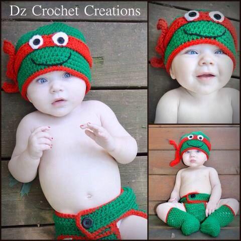 Crochet Ninja Turtle Photo Prop Diaper Cover Set  by HandMadeByDz
