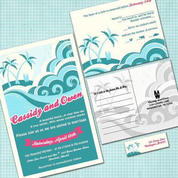 Custom Hawaiian Wedding Invitation Suite  Beach by InvitingMoments