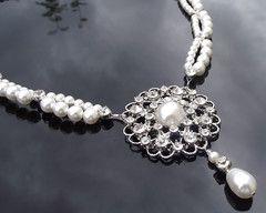 Vintage Style Necklace, Double Row Swarovski Pearls & Crystals, Lia