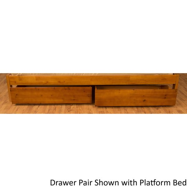 All Wood Storage Drawer Pair Fits Underneath Full and Queen-size Futon Frames and Twin, Full, Queen, and King-size Platform Beds