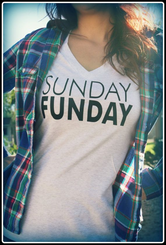 Sunday Funday shirt ladies heather white fun by TheStickerPlace