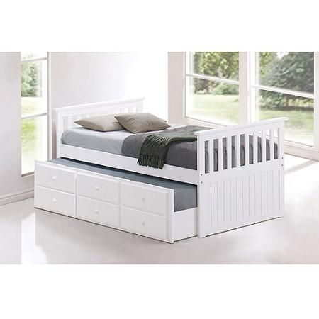 Broyhill Kids Marco Island Twin Captain's Bed with Trundle Bed and Drawers, White