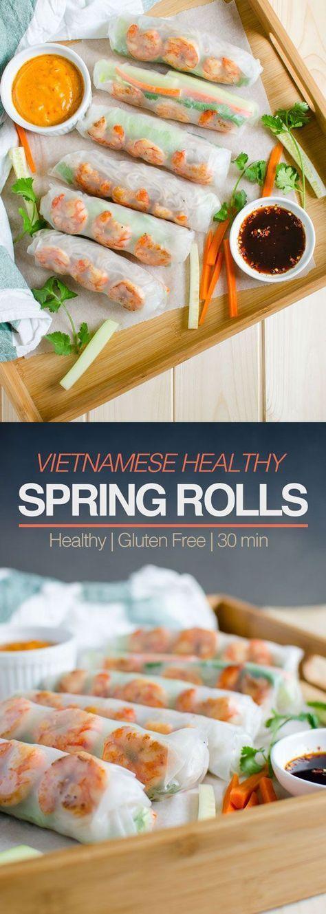 Vietnamesische gesunde Frühlingsrollen mit Erdnussbuttersauce – #butter #Healthy #Pea …   – Food