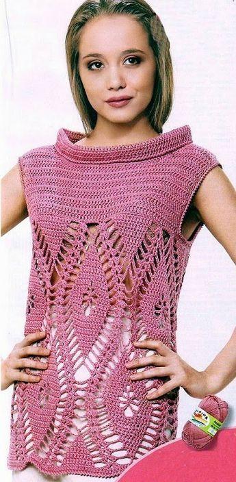crochelinhasagulhas: Blusa lilás de crochê com abacaxi