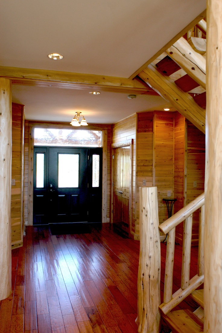 34 best hybrid log by dickinson homes images on pinterest timber pine walls and accents with a custom log staircase hand scrapped rustic cabin wood flooring