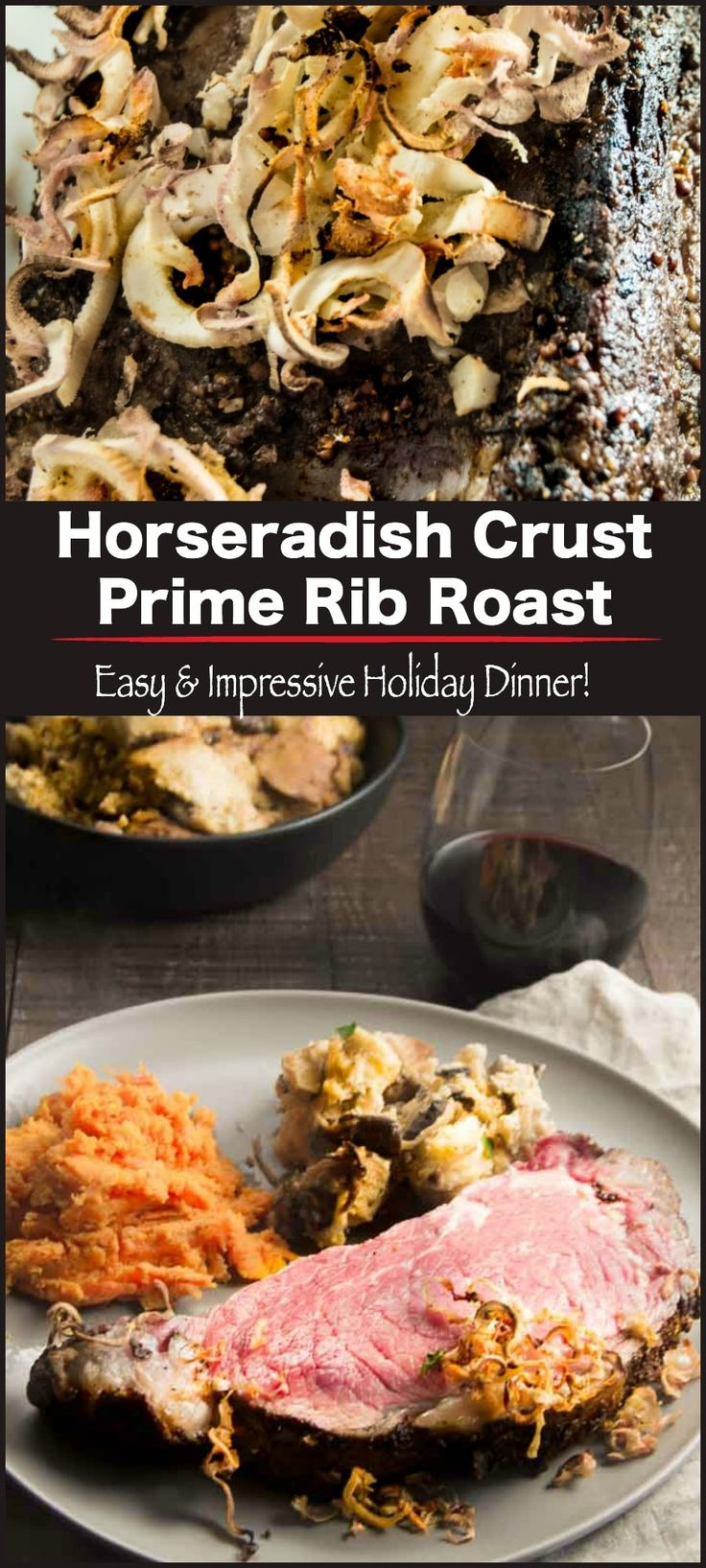 Horseradish Crust Ribeye Roast: A meal you will feel like you are at the fanciest restaurant. Flavored with mustard, fresh horseradish then cooked in the oven to yield tender, juicy prime rib roast for an easy meal for entertaining for the holidays. #primerib #specialoccasionmeal #christmas #newyears  via @westviamidwest