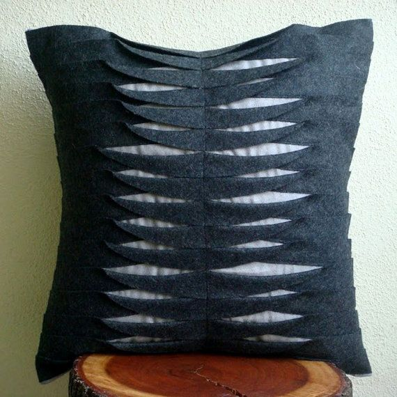 Throw Pillow Covers 16x16 Inches Felt Pillow Cover Couch Bed Pillows Gray Pillow Cases Contemporary Decorative Pillow Covers Charcoal Waves. $25.00, via Etsy.