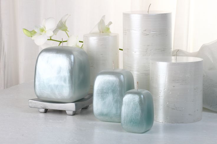 """Brand NEW for 2015 """"Opal"""" Collection in blue paired with our silver/white """"Festive"""" Illumination Candles. Both available in 3 sizes."""