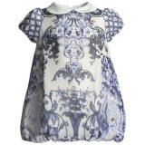 Baby Girls Blue Floral Silk Bubble Dress