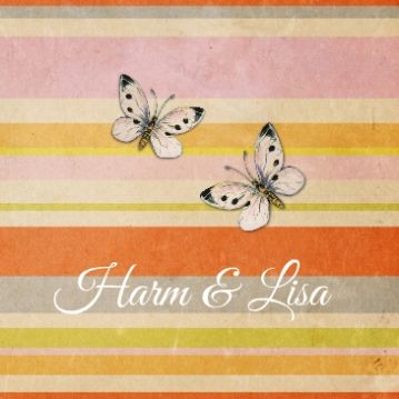 Retro #trouwkaart op #vintage #papier met vlindertjes