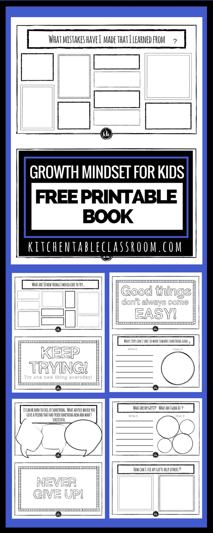 The growth mindset is one of the most encouraging perspective changes out there! Check out this free printable book about growth mindset for kids!