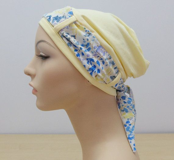Stylish Cancer Hat - Soft Yellow Turban hat with Floral scarf, hat for woman experiencing hair loss due to chemo therapy or cancer treatment