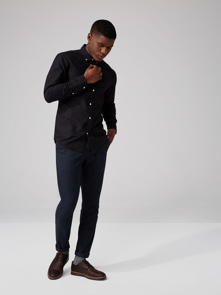 The Jasper Oxford Shirt in Black | Frank And Oak    Size large