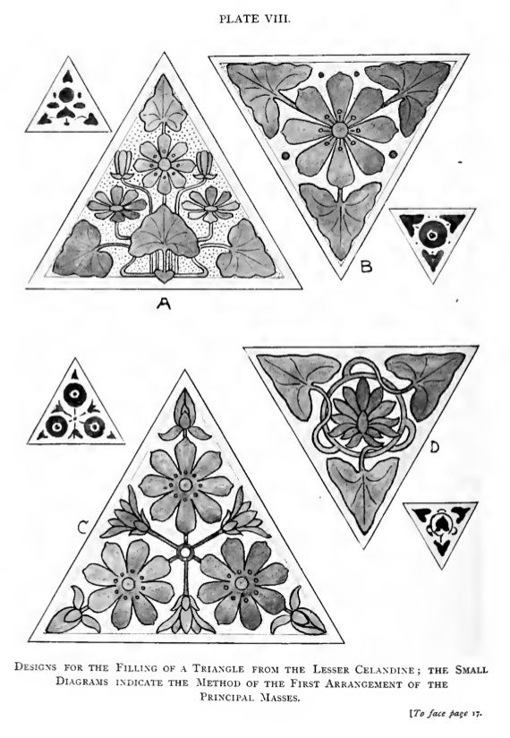 """Some nice embroidery compatible designs from the 1902 book, """"Progressive Design"""" by James Ward."""