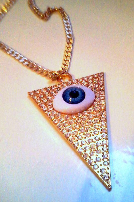Big evil eye charm necklace by KaterinakiJewelry on Etsy