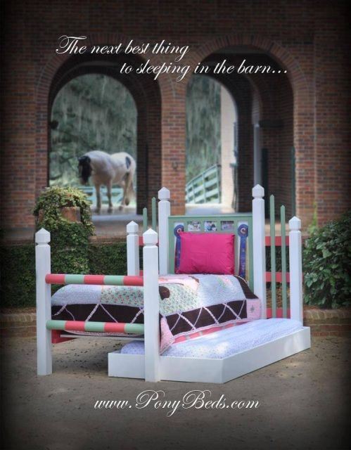 The Wellington PonyBeds BedEmulating the look of an actual horse jump our Wellington PonyBeds Bed brings you south to Palm Beach Florida!Our Wellington PonyBeds Bed has two places to hold your treasured competition ribbon PonyPrizes as well as a place to 'put on show' 3 of your most treasured photographs of your favorite PonyRide, PonyEvent, or PonyPeople behind protective Plexiglass inserts for easily interchangeable happenings!The Wellington PonyBeds Bed frame is breezy, beautiful, sturdy…