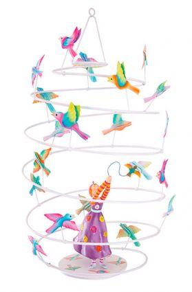 DECOILUZION - Móvil colgante decorativo La niña y los pájaros