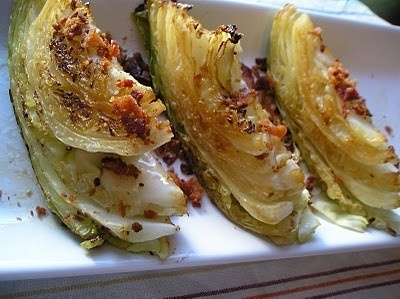 Yummy roasted cabbage wedges with bacon crumbles
