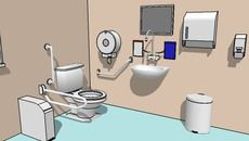 3D Model of General Workplace Bathroom Toilet