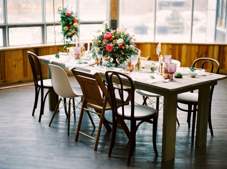Mismatched chairs at a farm table = love! See more of this styled shoot on the…