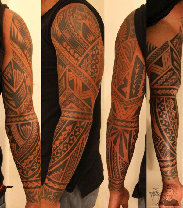 Maori Style Tattoo - 50+ Cool Sleeve Tattoo Designs
