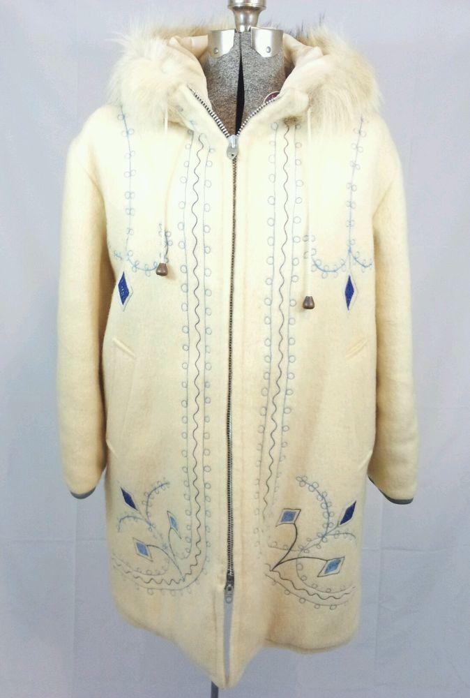 J2942 Vintage *HUDSON'S BAY* Womens WOOL ESKIMO FUR TRIM PARKA ESKIMO JACKET Med #HUDSONSBAY