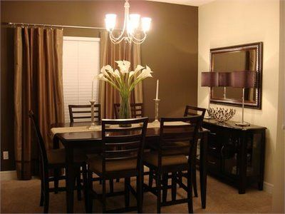 Chocolate Brown Dining Room With Red Tones Office Or